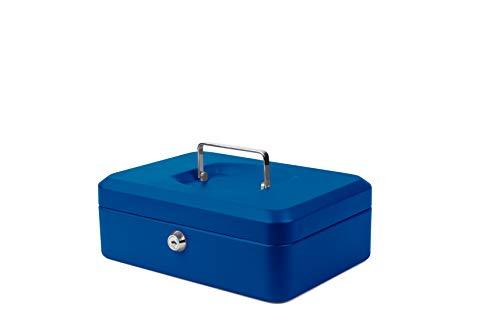 Pavo 8011766 - Cassetta di sicurezza portatile con vassoio portamonete, 25 x 18 x 9 cm, colore: Blu