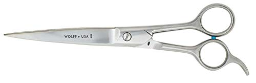 Wolff Grooming Shears - 7.0 to 9.0, Choose Straight, Curved, Bent Shank, Ball Tip (8.5' Filipino - Straight)