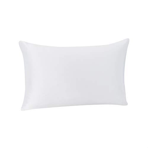 Amazon Basics - Funda de almohada de seda de morera 100%, ideal para el cabello y la piel, cierre de cremallera, doble cara, 19momme, blanca, 50x75cm, 1unidad