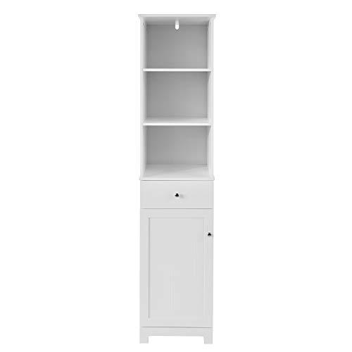 SoBuy BZR17-W Badezimmer Hochschrank Badschrank Badregal Badezimmerschrank mit 3 offenen Fächern, 1 Schublade und 1 Tür weiß BHT ca: 40x161x35cm