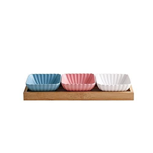 Plato Plato cerámico Bowls 3 Compartimento Dividido Salsa de Soja Plato con Bandeja Aperitivo Placas para bocadillos de bocadillos o Salsa de Salsa de Ketchup (Color : Blue+Pink+White)