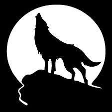 Chase Grace Studio Wolf Howling Full Moon Coyote Hunting Predator Vinyl Decal Sticker|WHITE|Cars Trucks SUV Laptops Wall Art|5.5' X 5'|CGS154