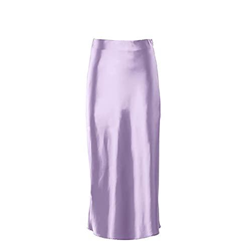 DHDHWL spódnica Spódnica Solidna Purpurowa Satin Silk Kobiety Wysokiej Pięci Letnie Długa Spódnica Eleganckie Damskie Spódnice Wiosenne Odzież minispódniczka (Color : Purple, Size : M)