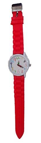 Pulsera roja con reloj lápices de colores y números infantiles para todas las edades. Ref: PEN45