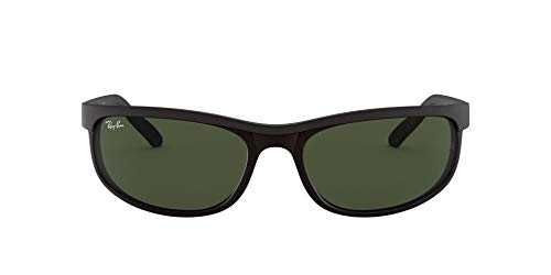 Ray-Ban Men's RB2027 Predator 2 Rectangular Sunglasses, Black/Matte Black/Green, 62 mm