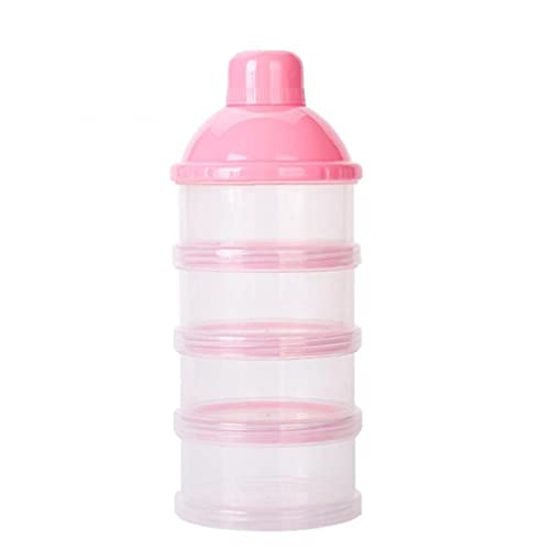 Dispensador de Polvo de Leche de bebé Alimentación de bebé Almacenamiento de Viajes Contenedor 6 Capas Sin derrame apilable Snack Snack Contenedor de Almacenamiento BPA Rosa