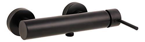 'aquaSu® Duscharmatur Lago 2.0 in schwarz mit Wasserspar-Funktion, Einhebelmischer für Dusche mit Stickgriff, aus Messing mit Keramikkartusche und Brauseanschluss, 78386 6