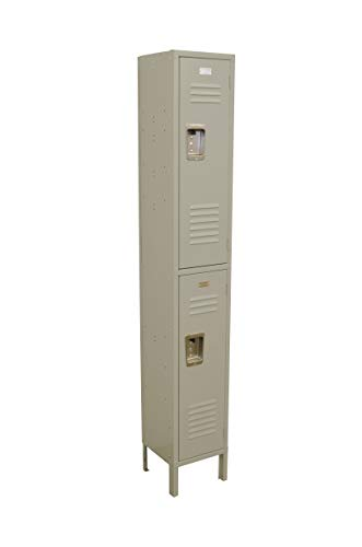 Double Tier Locker 12-Inch Wide 5-Feet High 15-Inch Deep Unassembled Metal Locker 2 Doors with Louvers 12W x 15D x 66H Perfect for School, Office, Gym, Garage or Lockers for Employees