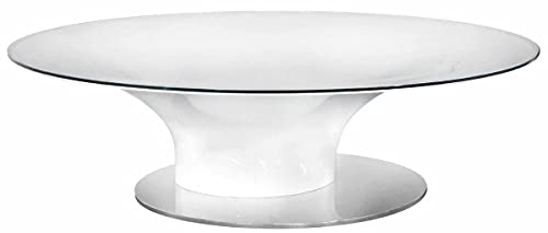 Casa Padrino Mesa de Centro de Lujo Blanco de Alto Brillo/Plata Ø 140 x A. 40 cm - Mesa de salón Redonda con Tapa de Vidrio - Muebles de salón de Lujo