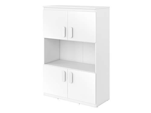 Mirjan24 Schrank Replay RP09 mit 4 Türen, Kommode, Sideboard, Highboard, Mehrzweckschrank für Jugendzimmer, Kinderzimmer (Weiß/Weiß Hochglanz, Weiß)