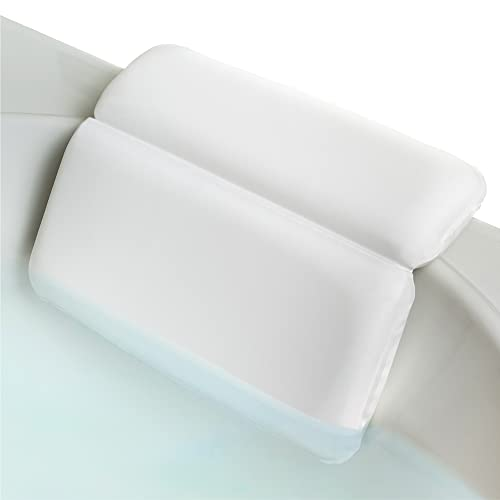 VANELUX Ultra Soft & Luxurious Spa Bath Pillow, With 2X Thickness & Cozy Feel, 2 panel Design To Support Back & Shoulder, For Bathtub Hot Tub And Jacuzzi, Slip Resistant (14.25 x 11.25 Inch, White)