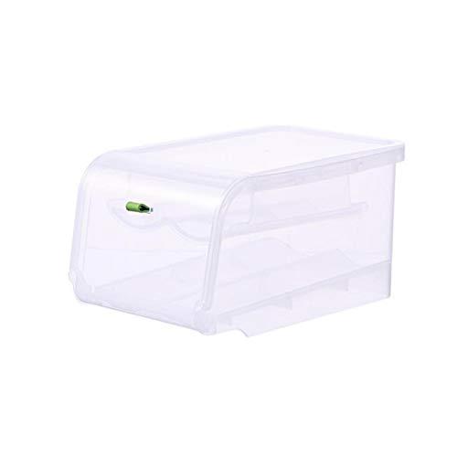 FEGSX Caja de almacenamiento automática para el hogar, huevo, frigorífico, cocina, doble capa, caja de almacenamiento para huevos 0414 (color verde)