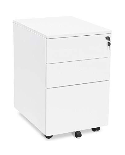 chiudibile hjh OFFICE 743007 Cassettiera su ruote COLOR metallo bianco Complemento darredo per ufficio con cassetti su ruote