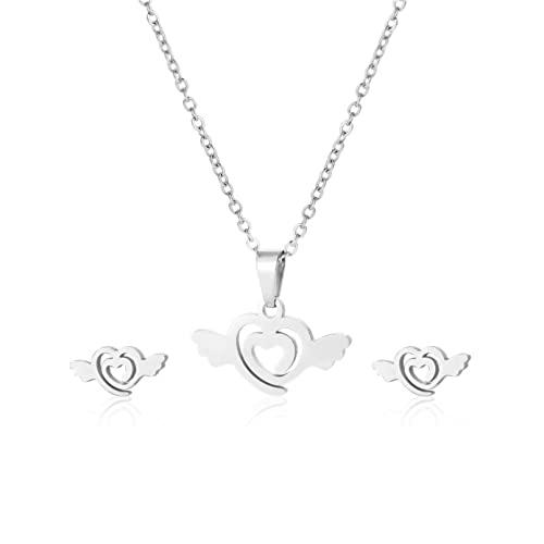 ZWBMLL Collana ciondolo europeo e americano semplice amore angelo ali ciondolo femminile a forma di cuore collana orecchini set accessori in acciaio inox