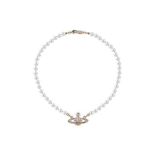 Collares De Perlas Blancas, Collar De Saturno Con Diamantes De ImitacióN De Cristal, Collar Con Colgante De Mujer, Aniversario, CumpleañOs, JoyeríA, Regalos Para Mamá, Esposa, Novia