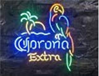 FINEON Corona Parrot Tree Real Glass Tube 17(w) insx13(h) ins Neon Sign Light for Beer Bar Pub Garage Room Bedroom Windows Gift Billboard