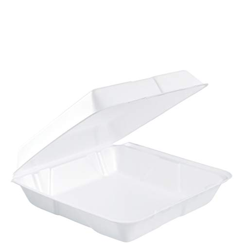 Dart 95HT1R Lg Foam Hinged Container, 9.5 in (Case of 200),White