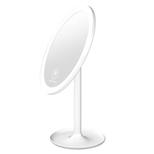 WERTDERTO cosmeticaspiegel met lamp voor op het bureau, met ledverlichting, spiegel, vrouwelijk slaapzaal, opbergen, draagbare make-upspiegel