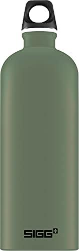 SIGG Traveller Leaf Green Trinkflasche (1 L), schadstofffreie und auslaufsichere Trinkflasche, federleichte Trinkflasche aus Aluminium