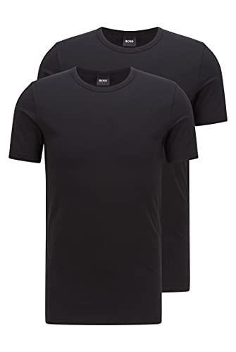 BOSS Herren T-Shirt RN 2P CO/EL Slim-Fit T-Shirt mit vertikalem Logo