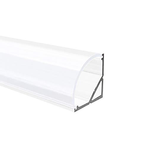 OPAL - 200 cm LED Aluminium Profil ECKE-RUND in Weiss + 200 cm weiß milchige Abdeckung für LED-Streifen Alu von Alumino®