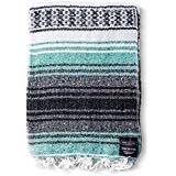 Mexican Blanket Falsa Blanket | Authentic Hand Woven Blanket, Serape, Yoga Blanket | Perfect Beach Blanket, Navajo Blanket, Camping Blanket, Picnic Blanket, Saddle Blanket, Car Blanket (Mint)