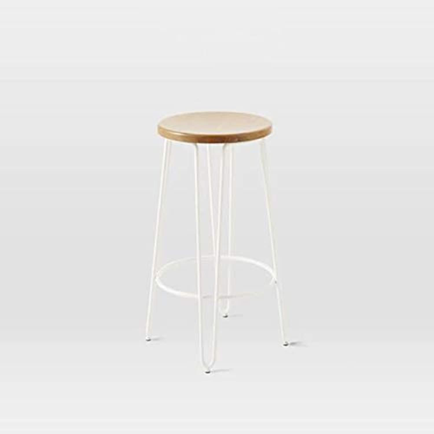 Barstools, American bar Cafe Solid Wood high Retro Casual Wrought Iron high Stool Tea Shop Dessert Shop Round bar Chair (color   White, Size   65CM)