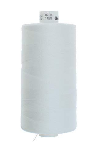 zipworld Polyester - Nähgarn 1000 Meter/Rollen in 4 Stärken erhältlich (2-weiss-700, Stärke 120 - fein - leicht)