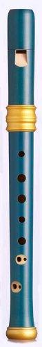 Mollenhauer 4119B Adris Traumflöte Renaissance-Art Sopran-Blockflöte Barock mit Doppelloch Birnenholz, gebeizt, blau, lackiert - Sopranflöte in C inkl. Baumwolltasche, Wollwischer, Fettdöschen, Grifftabelle und Pflegeanleitung