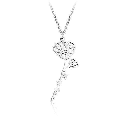 Sanyio Collar con Nombre Personalizado con Flor de Nacimiento Collar Floral Delicado Collares Iniciales Joyas Personalizadas para Mujeres Niñas Madre Dama de Honor Regalos