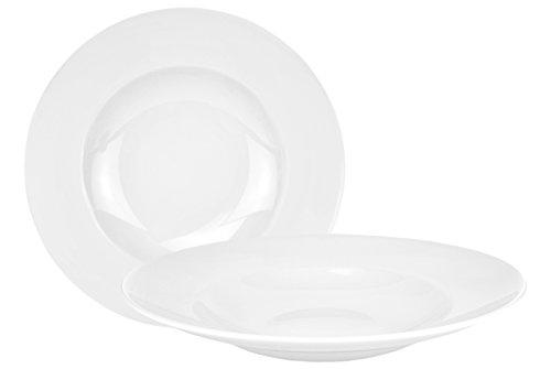 Van Well 2er Set Pasta Bowl, 500 ml, Ø 30 cm, tiefer Menüteller, Nudelteller, edles Markenporzellan, glänzend, klassisch weiß, rund