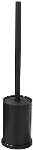 bgl - Scopino per WC nero e porta scopino da bagno corto nero con supporto per scopino WC autoportante in alluminio per bagno (nero)