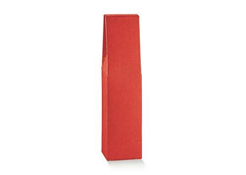 10 cajas para 1 botella de vino vertical modelo Bordolese, bolso de noche robustas y extrañas, de cartón acoplado y asa externa de 9 x 9 x 37 cm (h) – 1 rojo