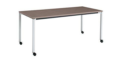 コクヨ ミーティングテーブル JUTO MT-JTK187S81MG5-CN 角形天板 4本脚 角脚 スクエアコーナー 幅180×奥行75cm 天板アッシュブラウン/脚フラットシルバー キャスター付