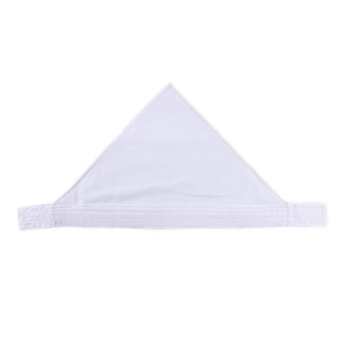 三角巾 シンプル 無地 大人用 男女兼用 カフェ 業務用 料理教室 調理実習 清掃 美容院 マジックテープ付き 簡単に取り付ける 全6色 (白, 1)