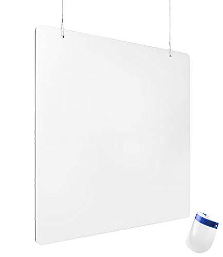 Mampara Protectora COLGANTE para Mostrador, Mesas, Barras, Escritorios, 120 cm de ancho X 80 cm alto, 3 mm de grosor, Metacrilato, color transparente, incluye kit de montaje (1 unidad)