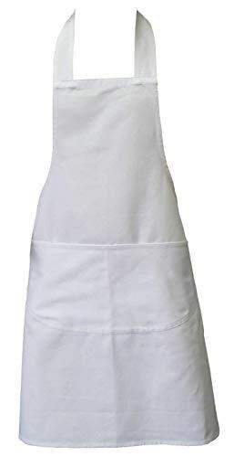 Kochschürze, Weiß, Schürze mit zwei Fronttaschen und maschinenwaschbar, Küchenschürze