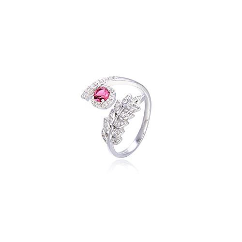 Fashion Simple S925 Silber eingelegter Diamantblattring Öffnungseinstellung Forest Series Zirkonring