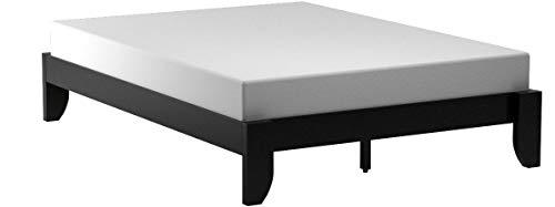 Copenhagen All Wood Platform Bed Frame, Queen, Black