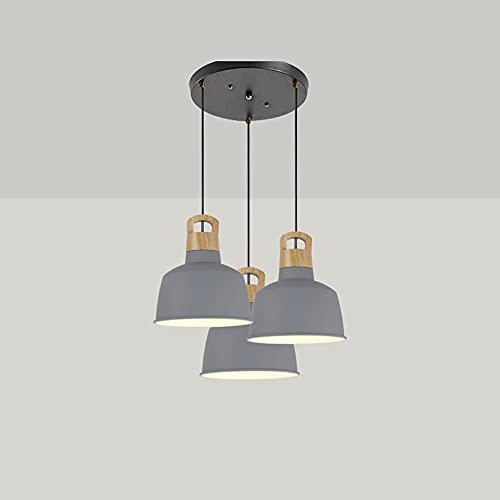 YANGENG Nordic Metal Lampenschirm Farbe Macaron Drei-Kopf-Massivholz Kronleuchter Restaurant LED-Lichtleiste Dekoration Gang Semi-Einbau Leuchte Schlafzimmer Decke Anhänger Arbeitszimmer Hängende Bele
