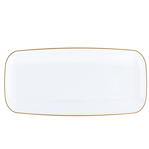 Plasticpro Plastic Serving Trays - Serving Platters Disposable Party Dish White, (2, Rectangle White Tray with Gold Rim 10\'\')