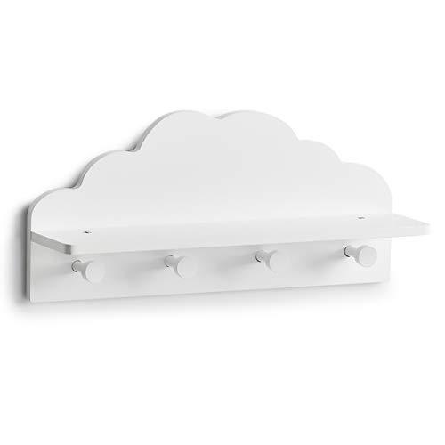 Zeller Kinder-Wandgarderobe Wolke, MDF, weiß, ca. 48 x 12 x 22 cm