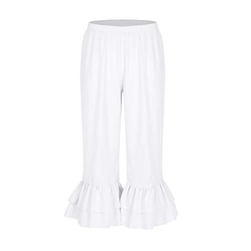 MSemis Damen Hose Viktorianisch Rüschen Lolita Kürbis Pantalons Weiß Pettipants Hexenhose Mittelalter Renaissance Pumphose Cosplay Kostüm Weiß X-Large