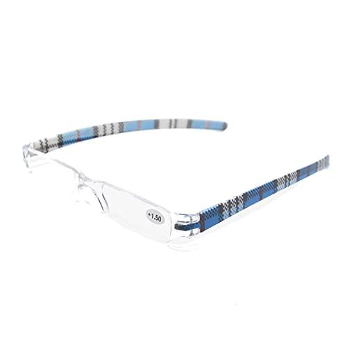 Henghao 携帯用 超軽量リムレス 老眼鏡 8色選択可能 シニアグラス おしゃれ リーディンググラス 専用ケース付 H6035 (ブルー チェック柄, +1.00)