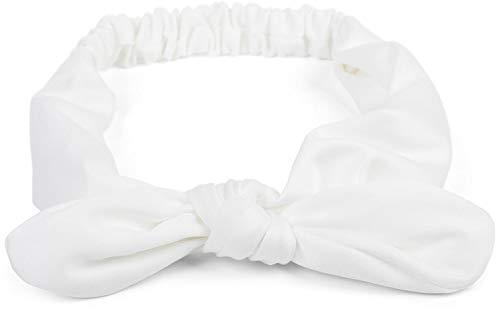 styleBREAKER cinta para el pelo de mujer monocolor con lazo y goma elástica, cinta para la frente, pinup, rockabilly 04026035, color:Blanco
