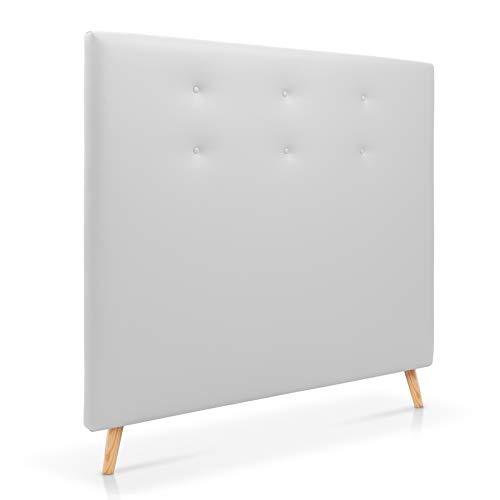 SERMAHOME Cabecero para Cama de 135 cm. Cabeceros Tapizados Color Blanco. Cabecero de Patas de Madera Extra Alto.