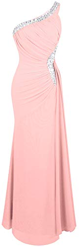 Angel-fashions Women's One Shoulder Ruching Beading Ribbon Soft Evening Gown (M, Light Pink)
