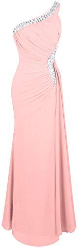 Angel-fashions De las Mujeres Un Hombro Ruching Cuentas Cinta Escotado por detras Vestido Largo (L, Rosa Claro)
