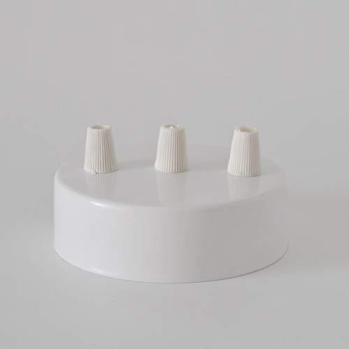 Baldachin 3-Bohrlöcher Zylinder Metallic Weiß 100mm, Aufhängebügel, Schrauben und Kabelhalter. Made in Italy
