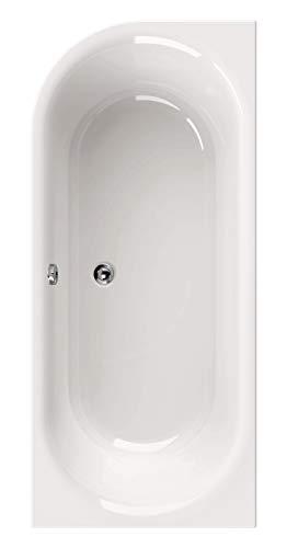 Calmwaters® Rechteck-Badewanne 180x80 cm, Acrylwanne Honest, Duo-Badewanne für zwei Personen, Maße 180 x 80 cm, Rechteckwanne in linker Ausführung, Duowanne in Weiß - 02SL2971